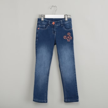 MAX Floral Embroidered Lightly Washed Jeans