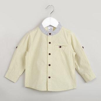 MAX Checked Mandarin Collar Shirt