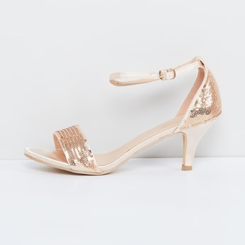 MAX Cone Heels Shimmery Sandals