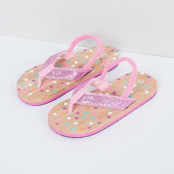 MAX Polka-Dot Print Shimmery Slingback Slippers