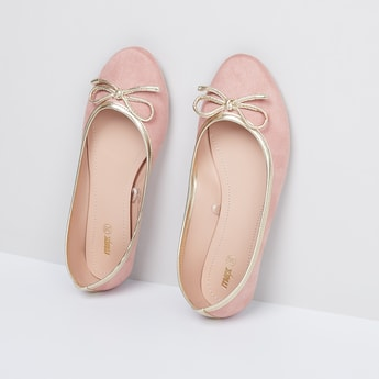 MAX Solid Ballerinas with Mock Tie-Up