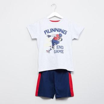 MAX Printed T-shirt with Colourblock Shorts - Set of 2