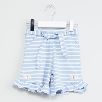 MAX Striped Ruffled Detail Shorts