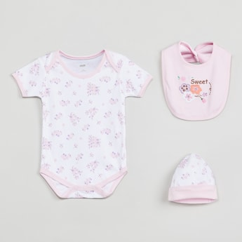 MAX Floral Print Sleepsuit with Bib & Beanie - Set of 3 Pcs.