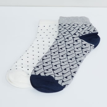MAX Woven Design Ankle Length Socks- Pack of 2