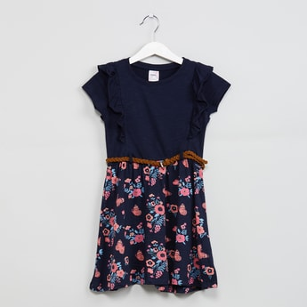MAX Printed Ruffled Dress with Belt