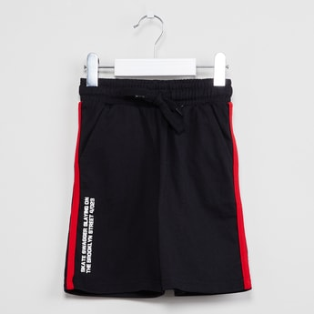MAX Typographic Print Shorts with Contrast Taping