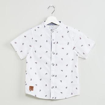 MAX Mandarin Collar Printed Short Sleeves Shirt