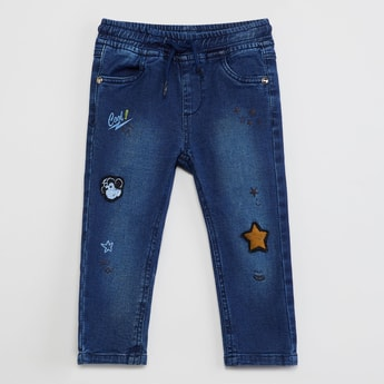 MAX Stonewashed Applique Detail Jeans