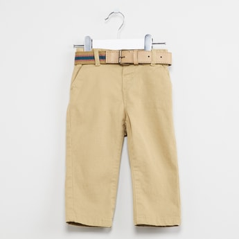 MAX Solid Trousers with Waistbelt
