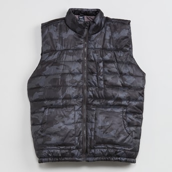 MAX Solid Quilted Sleeveless Jacket