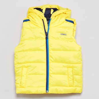 MAX Solid Hooded Sleeveless Jacket