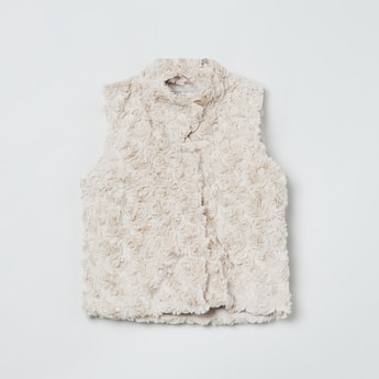 MAX Rosette Fur Textured Sleeveless Jacket
