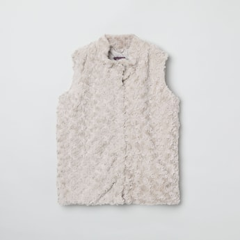 MAX Furry Rosette Textured Sleeveless Jacket