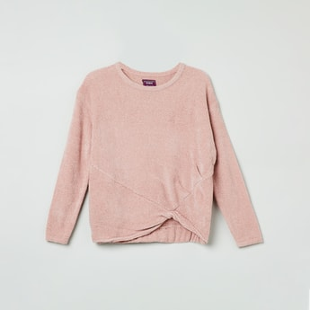 MAX Solid Twisted Hem Sweater