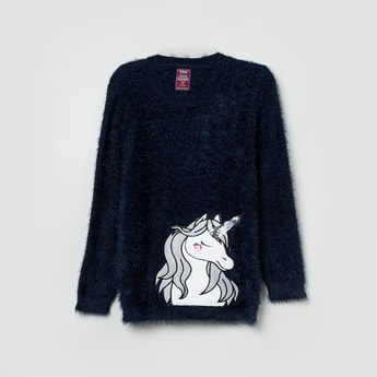 MAX Appliqued Furry Sweater