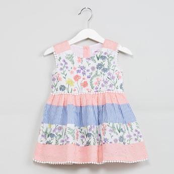 MAX Floral Print A-line Dress with Bobble Trim