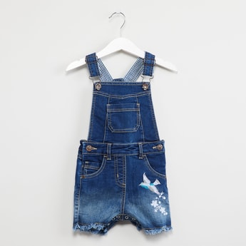 MAX Lightly Washed Denim Dungarees with Embroidery