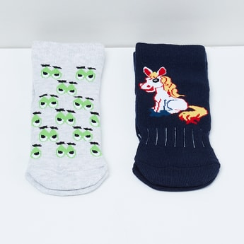 MAX Printed Ankle-Length Socks - Pack of 2 Pairs