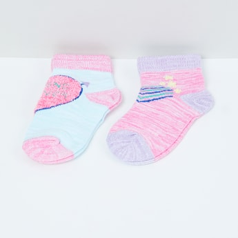 MAX Woven Design Socks- Set of 2 - 2-4Y