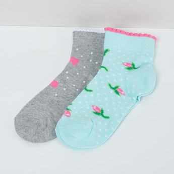 MAX Printed Socks with Scalloped Hem - Pack of 2 Pcs.