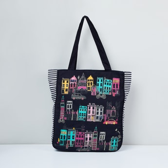 MAX Graphic Print Striped Tote Bag
