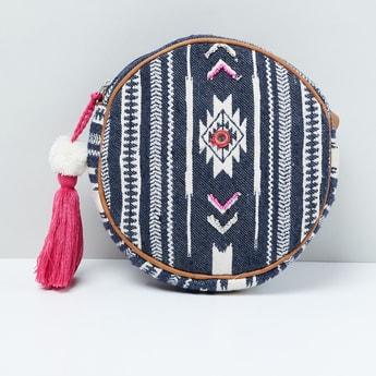 MAX Patterned Weave Tasselled Circular Sling Bag