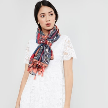 MAX Printed Scarf with Tasselled Border