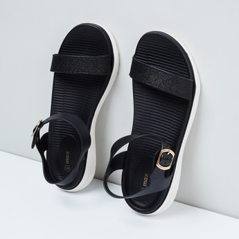 MAX Glittered Ankle-Strap Flatforms