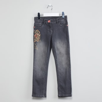 MAX Floral Embroidered Stonewashed Jeans
