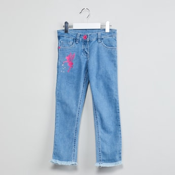 MAX Frayed Hem Jeans with Embroidery