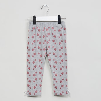 MAX Heart Print Leggings with Bow