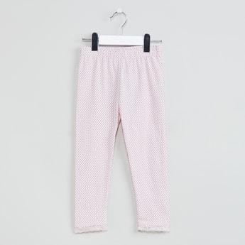 MAX Polka-Dot Print Leggings with Lace Hem
