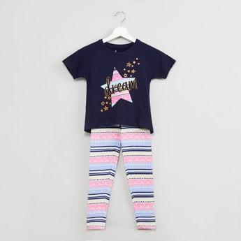MAX Printed Raglan Sleeve T-shirt with Printed Pants