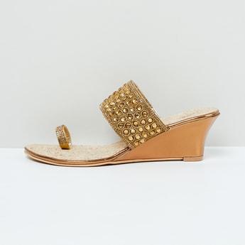 MAX Embellished Toe-Strap Wedges