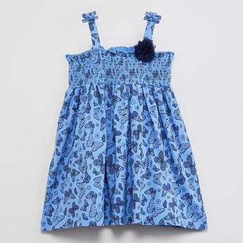 MAX Butterfly Print Smocked Detail Dress