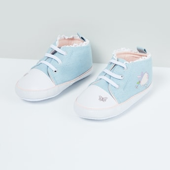 MAX Printed Lace Trimmed Booties - 0-18M