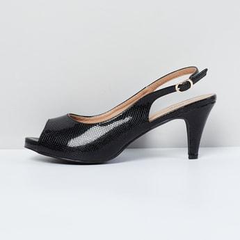 MAX Textured Peep-Toe Slingback Kitten Heels