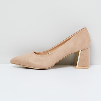 MAX Solid Chunky Heeled Pointed-Toe Shoes