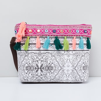 MAX Printed Tassel Trimmed Cosmetic Pouch