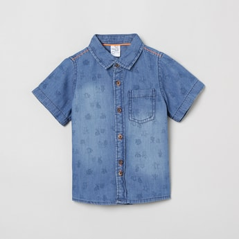 MAX Printed Short Sleeves Denim Shirt