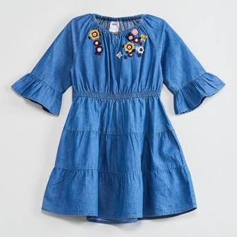 MAX Embroidered Bell Sleeves Dress