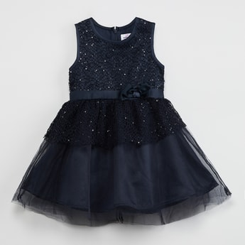 MAX Sequinned Fit & Flare Dress with Crochet