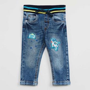 MAX Appliqued Drawstring Waist Jeans