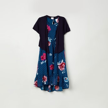 MAX Floral Print Dress with Solid Shrug