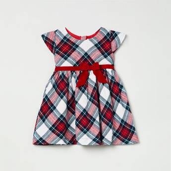 MAX Checked Fit and Flared Dress