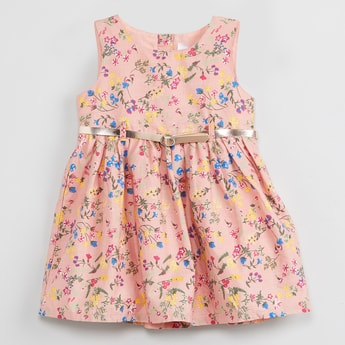 MAX Floral Print Sleeveless Dress with Belt
