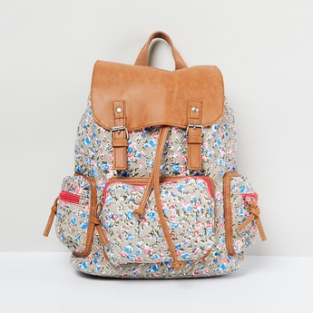 MAX Floral Print Backpack with Flap