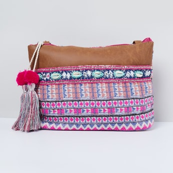 MAX Patterned Weave Sling Bag with Tassels