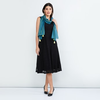 MAX Embroidered Tassel Trimmed Stole